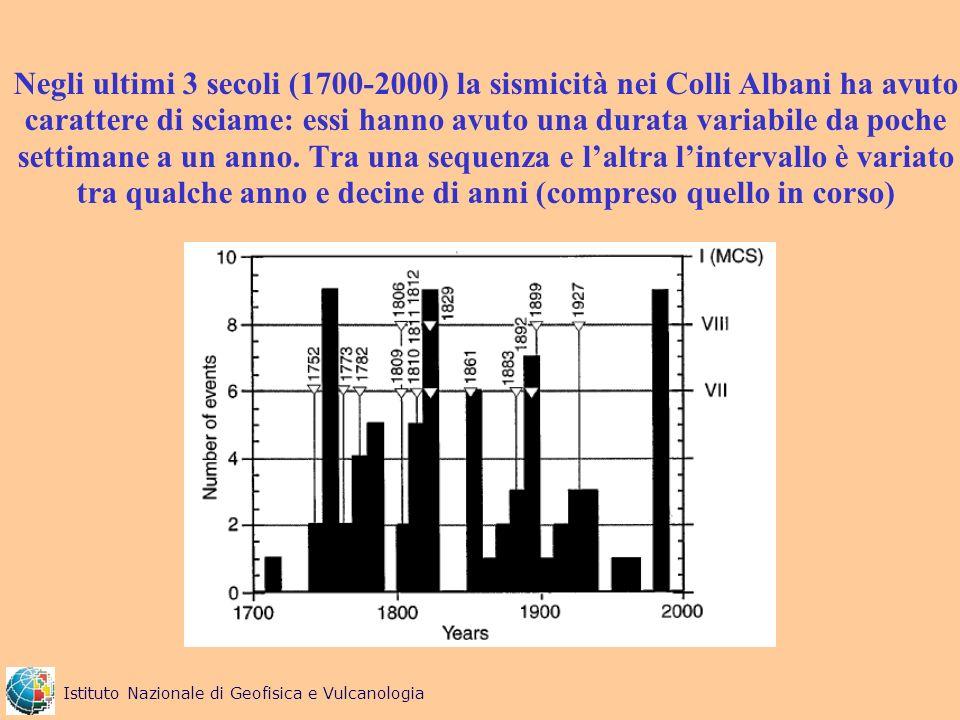Negli ultimi 3 secoli (1700-2000) la sismicità nei Colli Albani ha avuto carattere di sciame: essi hanno avuto una durata variabile da poche settimane a un anno. Tra una sequenza e l'altra l'intervallo è variato tra qualche anno e decine di anni (compreso quello in corso)