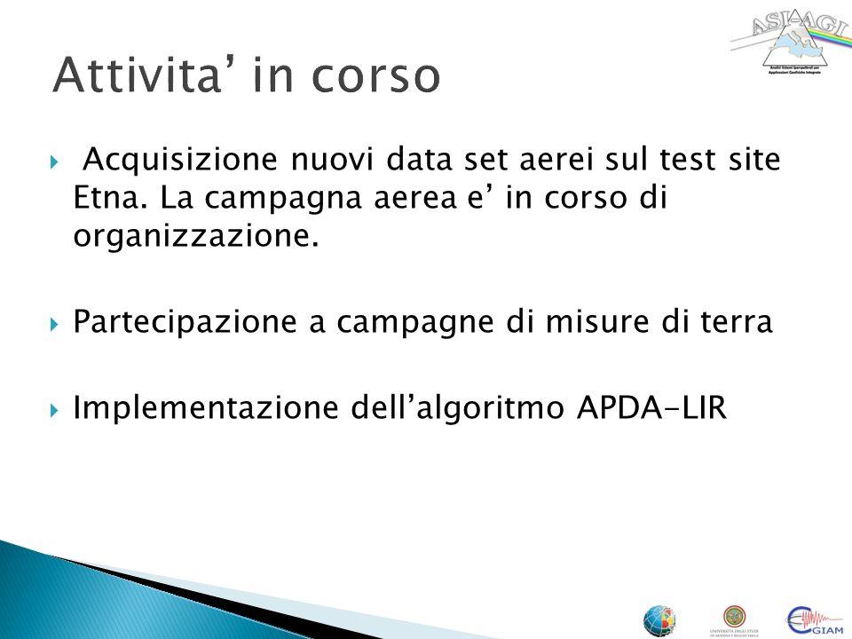 Attivita' in corso Acquisizione nuovi data set aerei sul test site Etna. La campagna aerea e' in corso di organizzazione.