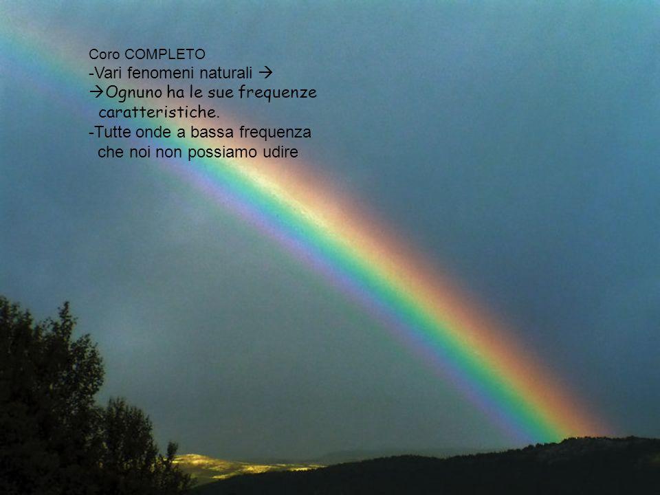 Vari fenomeni naturali  Ognuno ha le sue frequenze caratteristiche.