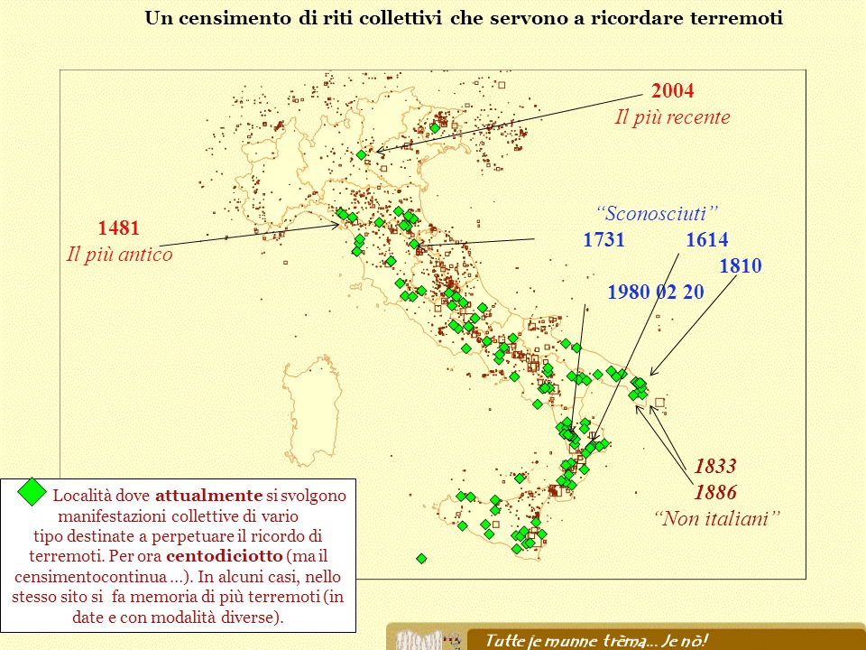 Un censimento di riti collettivi che servono a ricordare terremoti