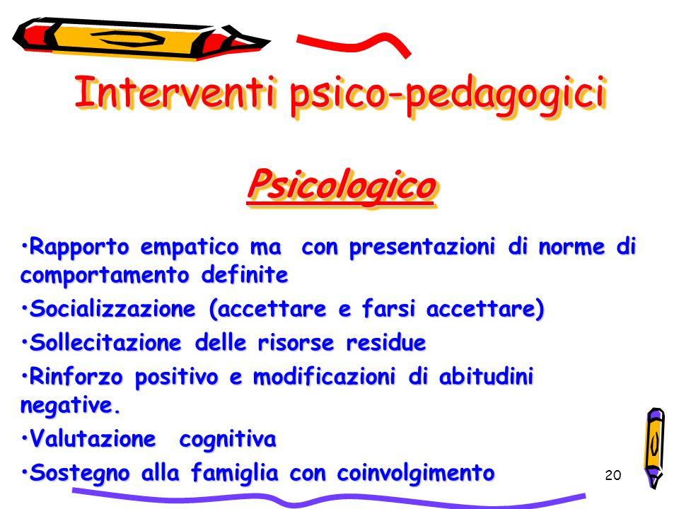 Interventi psico-pedagogici Psicologico