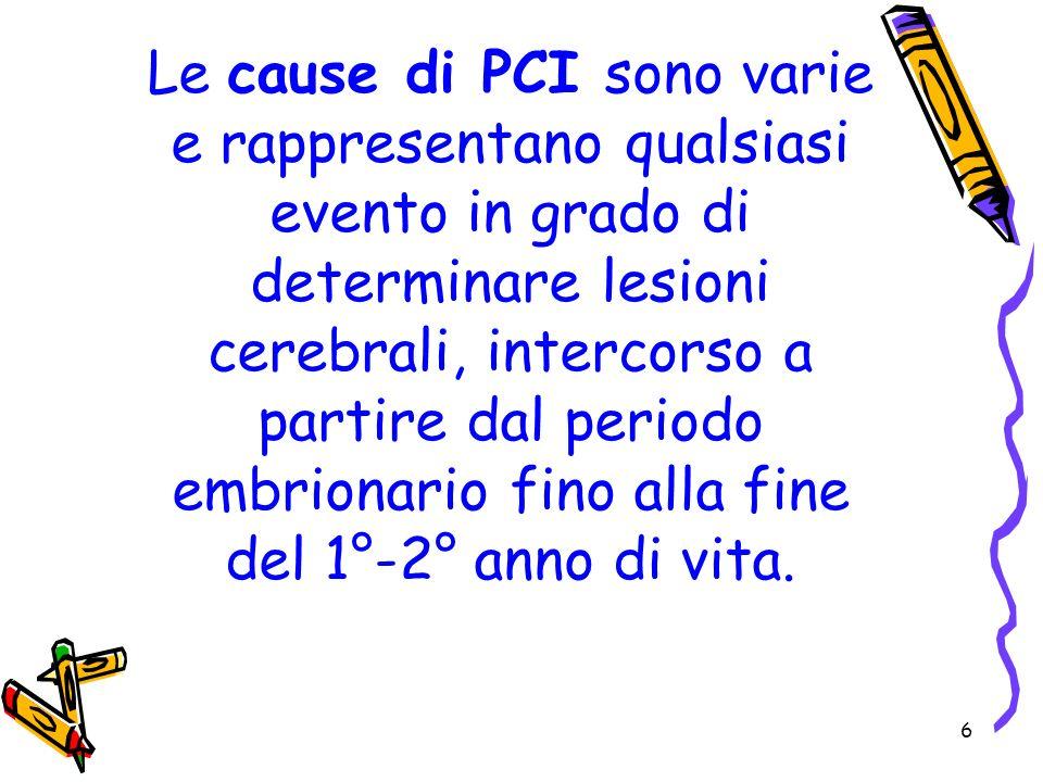 Le cause di PCI sono varie e rappresentano qualsiasi evento in grado di determinare lesioni cerebrali, intercorso a partire dal periodo embrionario fino alla fine del 1°-2° anno di vita.