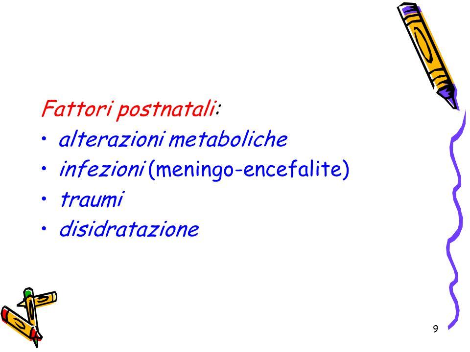 Fattori postnatali: alterazioni metaboliche infezioni (meningo-encefalite) traumi disidratazione