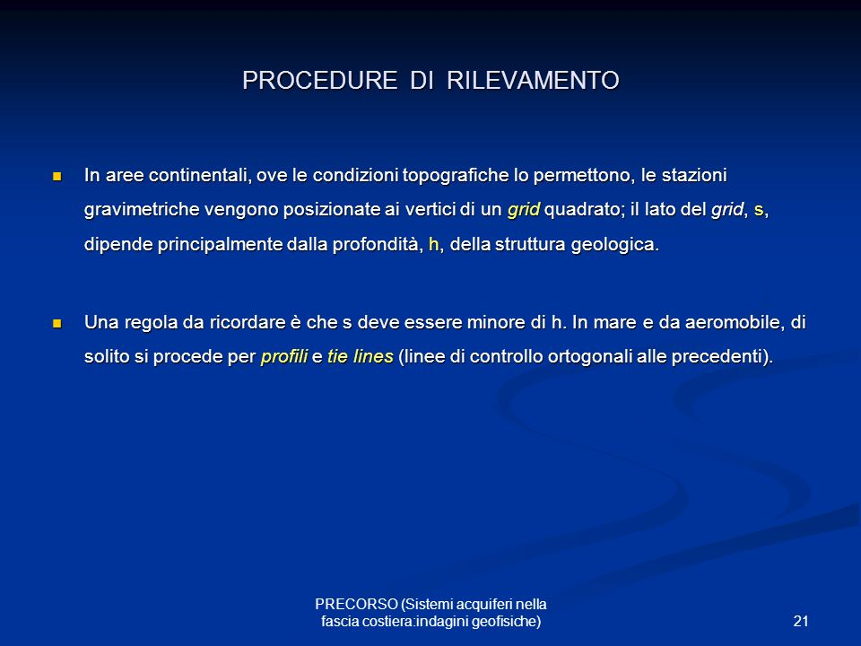 PROCEDURE DI RILEVAMENTO