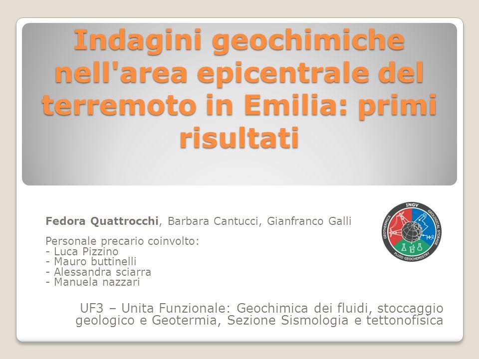 Indagini geochimiche nell area epicentrale del terremoto in Emilia: primi risultati