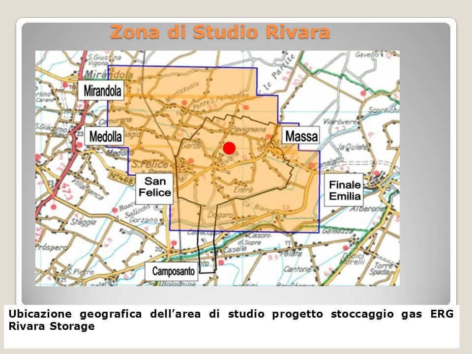 Zona di Studio Rivara Ubicazione geografica dell'area di studio progetto stoccaggio gas ERG Rivara Storage.
