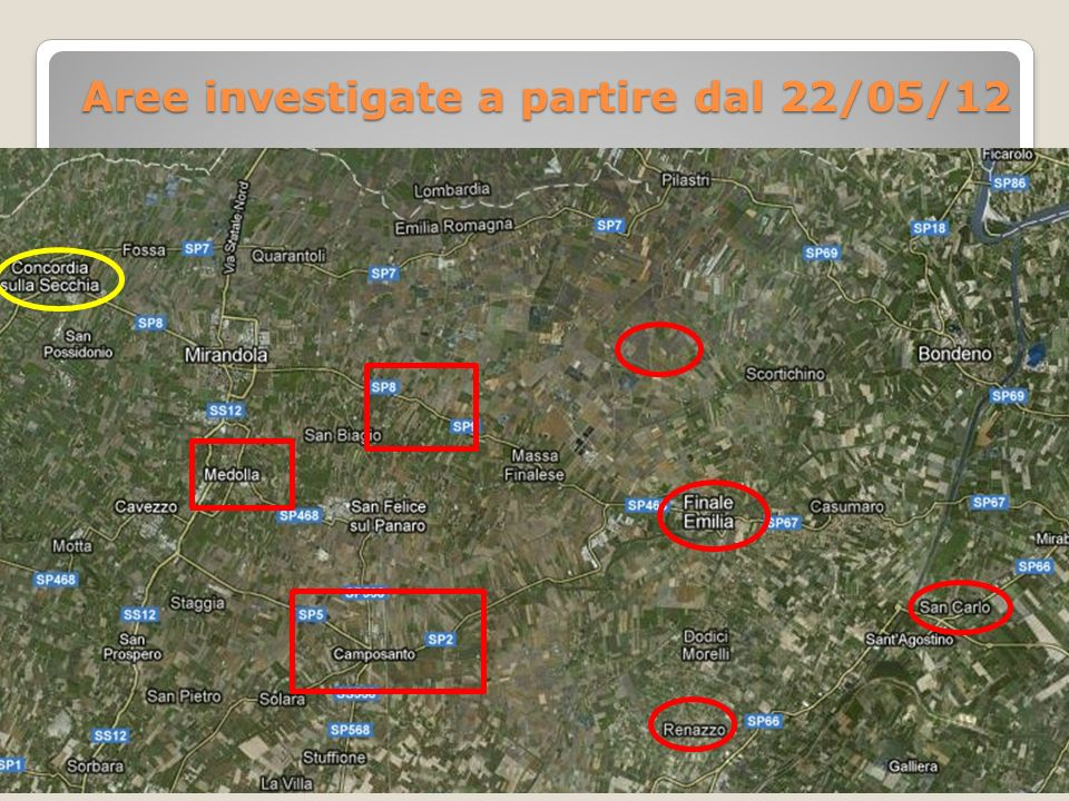 Aree investigate a partire dal 22/05/12
