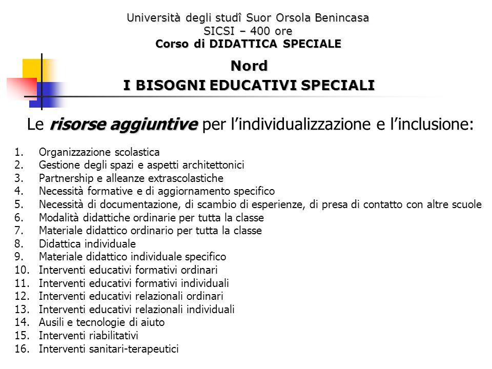 Corso di DIDATTICA SPECIALE I BISOGNI EDUCATIVI SPECIALI