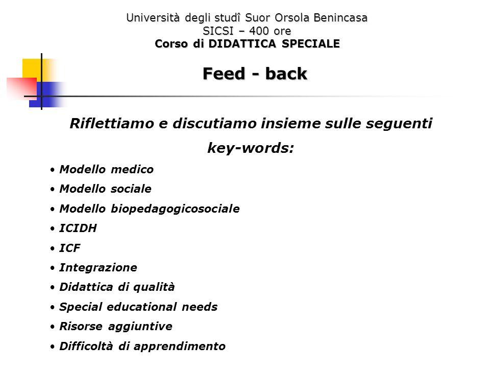 Feed - back Riflettiamo e discutiamo insieme sulle seguenti key-words: