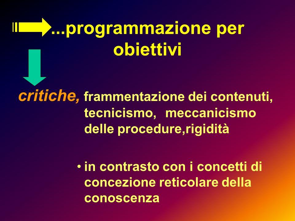 ...programmazione per obiettivi