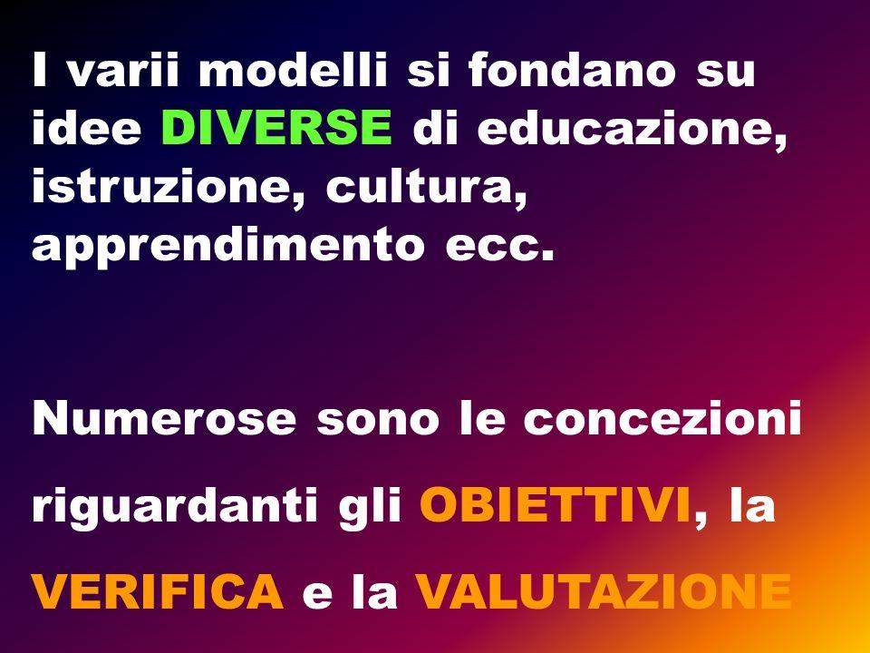 I varii modelli si fondano su idee DIVERSE di educazione, istruzione, cultura, apprendimento ecc.