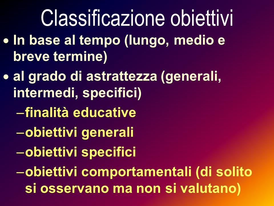 Classificazione obiettivi