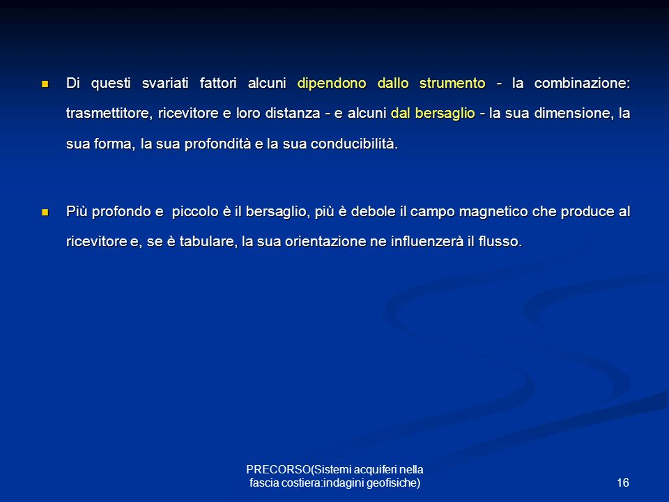 PRECORSO(Sistemi acquiferi nella fascia costiera:indagini geofisiche)