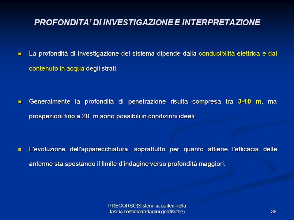 PROFONDITA' DI INVESTIGAZIONE E INTERPRETAZIONE