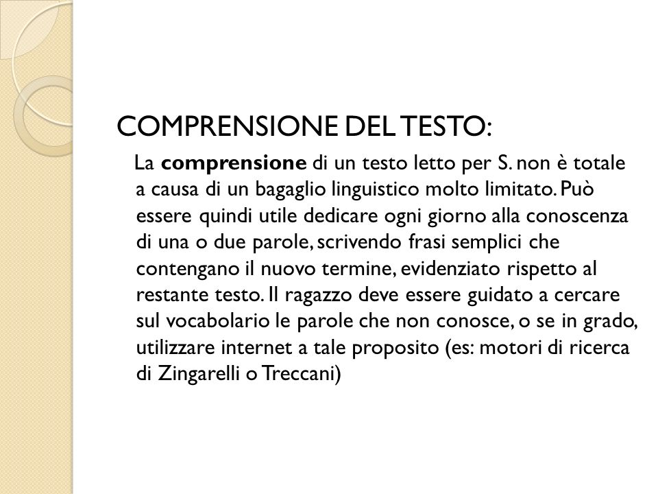 COMPRENSIONE DEL TESTO: