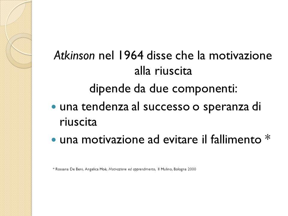 Atkinson nel 1964 disse che la motivazione alla riuscita