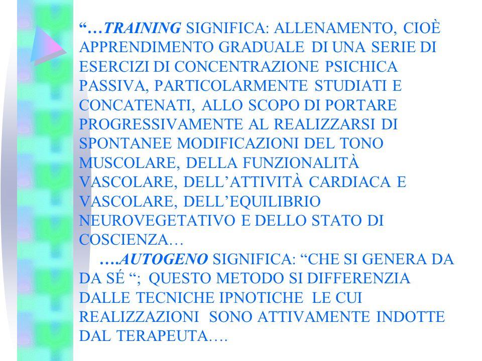 …TRAINING SIGNIFICA: ALLENAMENTO, CIOÈ APPRENDIMENTO GRADUALE DI UNA SERIE DI ESERCIZI DI CONCENTRAZIONE PSICHICA PASSIVA, PARTICOLARMENTE STUDIATI E CONCATENATI, ALLO SCOPO DI PORTARE PROGRESSIVAMENTE AL REALIZZARSI DI SPONTANEE MODIFICAZIONI DEL TONO MUSCOLARE, DELLA FUNZIONALITÀ VASCOLARE, DELL'ATTIVITÀ CARDIACA E VASCOLARE, DELL'EQUILIBRIO NEUROVEGETATIVO E DELLO STATO DI COSCIENZA… ….AUTOGENO SIGNIFICA: CHE SI GENERA DA DA SÉ ; QUESTO METODO SI DIFFERENZIA DALLE TECNICHE IPNOTICHE LE CUI REALIZZAZIONI SONO ATTIVAMENTE INDOTTE DAL TERAPEUTA….