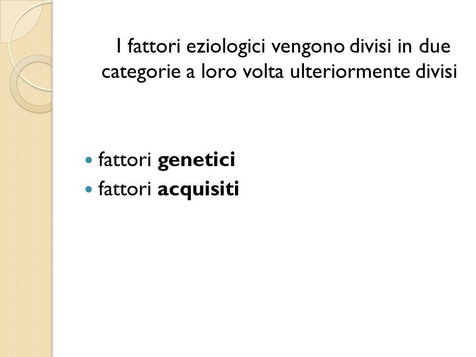 I fattori eziologici vengono divisi in due categorie a loro volta ulteriormente divisi