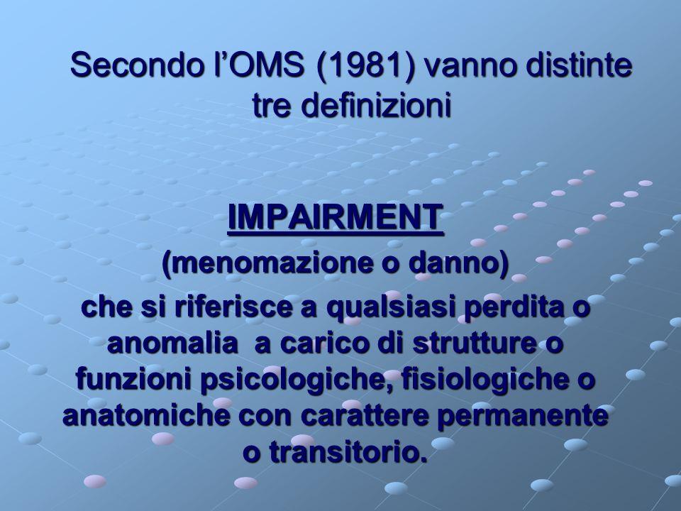 Secondo l'OMS (1981) vanno distinte tre definizioni