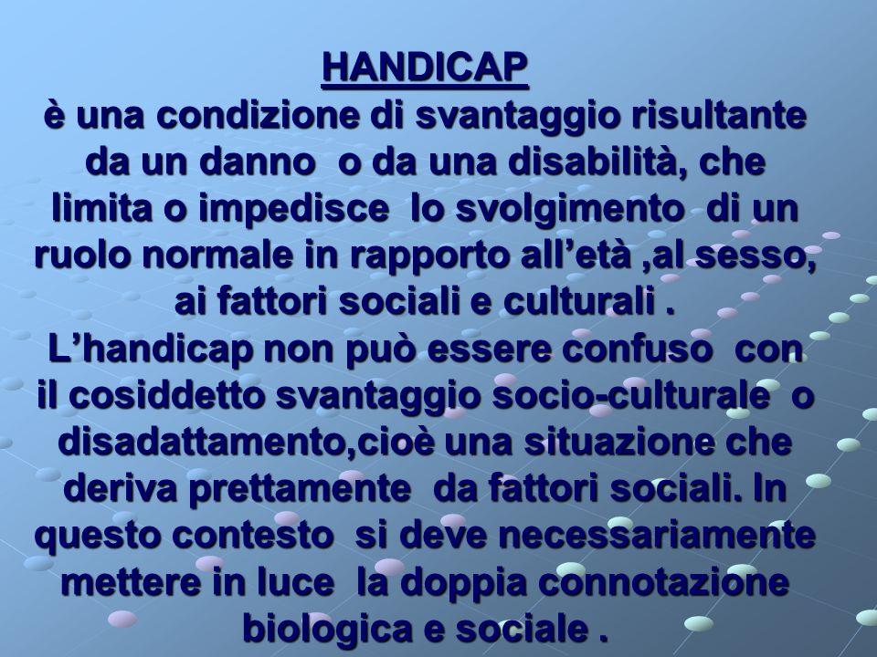 HANDICAP è una condizione di svantaggio risultante da un danno o da una disabilità, che limita o impedisce lo svolgimento di un ruolo normale in rapporto all'età ,al sesso, ai fattori sociali e culturali .