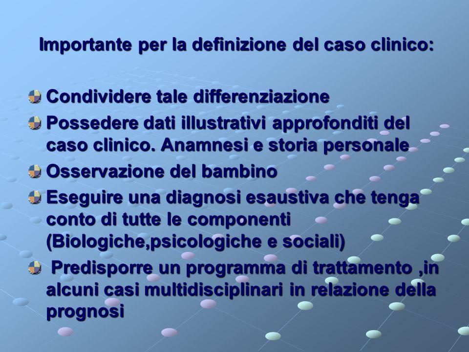 Importante per la definizione del caso clinico: