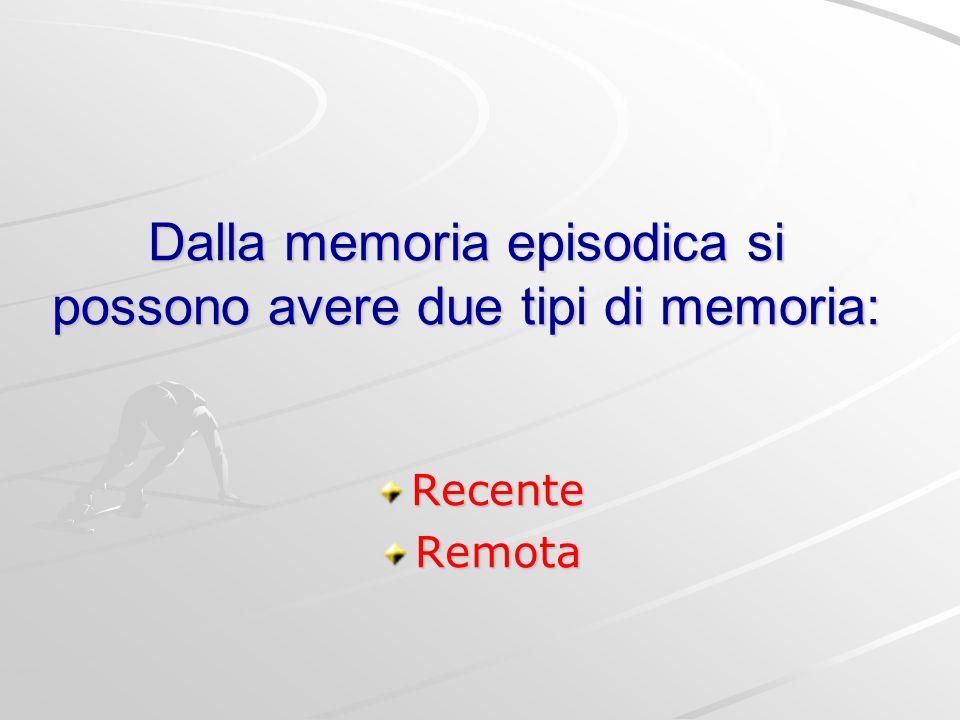 Dalla memoria episodica si possono avere due tipi di memoria: