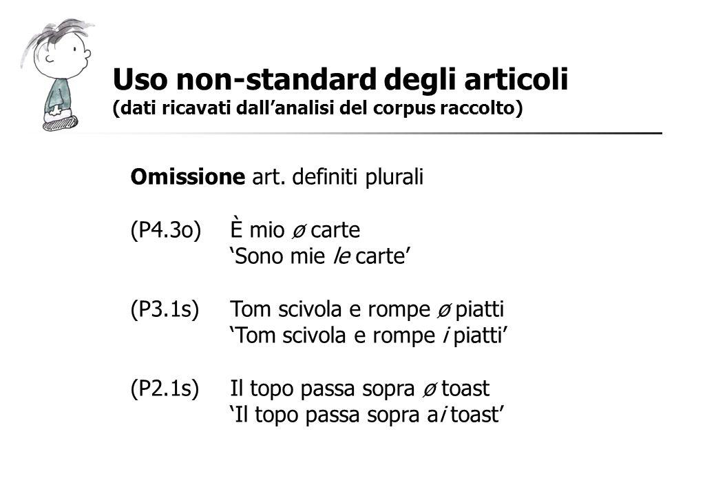 Uso non-standard degli articoli