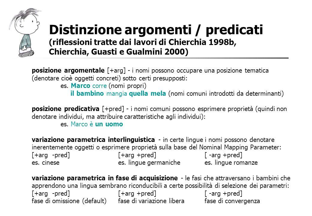 Distinzione argomenti / predicati