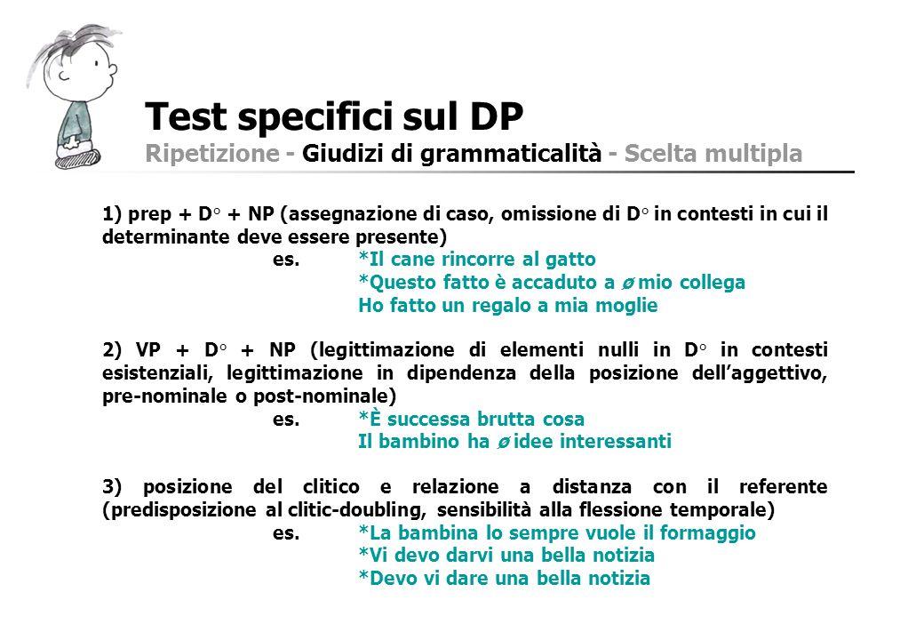 Test specifici sul DP Ripetizione - Giudizi di grammaticalità - Scelta multipla.