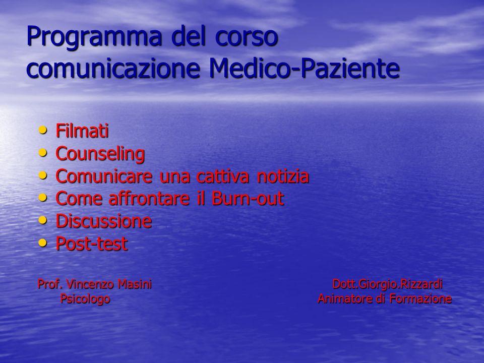 Programma del corso comunicazione Medico-Paziente