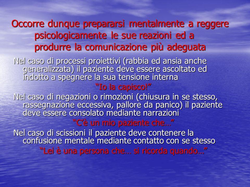 Occorre dunque prepararsi mentalmente a reggere psicologicamente le sue reazioni ed a produrre la comunicazione più adeguata