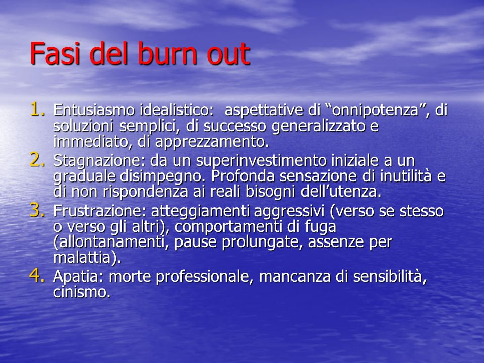 Fasi del burn out