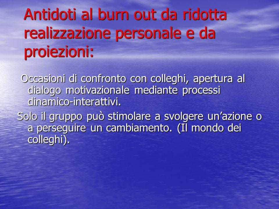 Antidoti al burn out da ridotta realizzazione personale e da proiezioni: