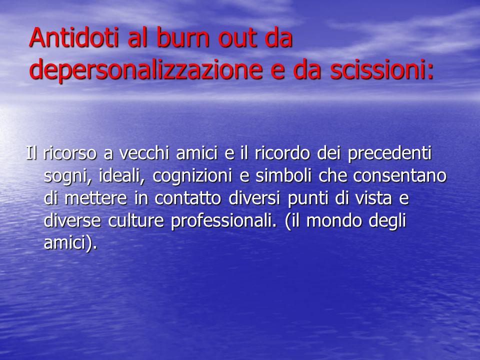 Antidoti al burn out da depersonalizzazione e da scissioni: