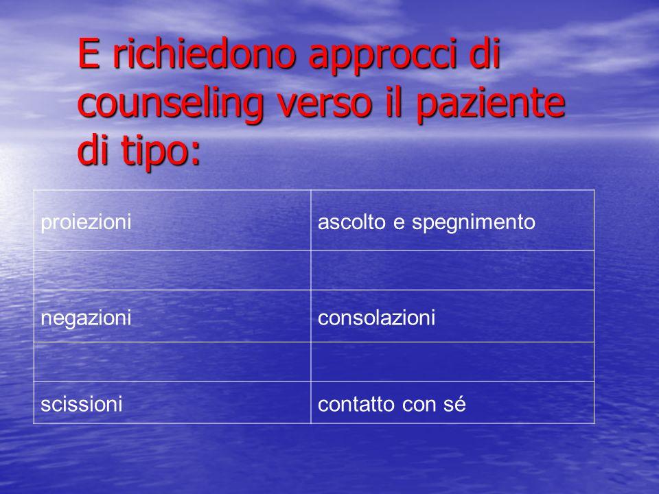 E richiedono approcci di counseling verso il paziente di tipo: