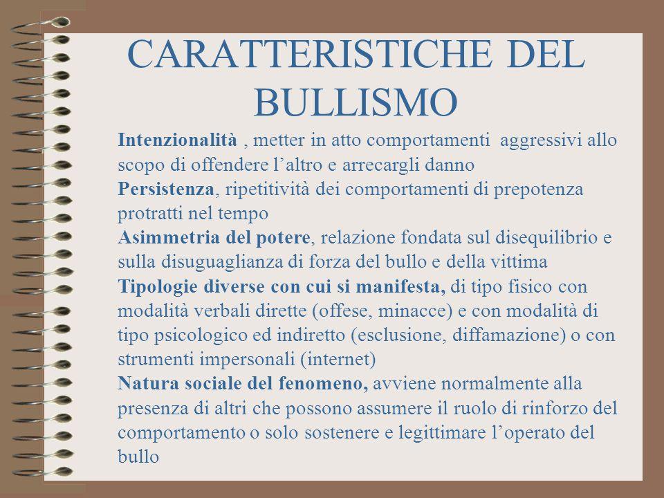 CARATTERISTICHE DEL BULLISMO