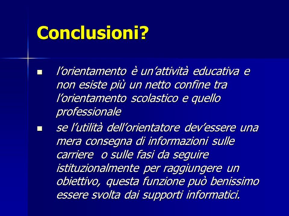 Conclusioni l'orientamento è un'attività educativa e non esiste più un netto confine tra l'orientamento scolastico e quello professionale.