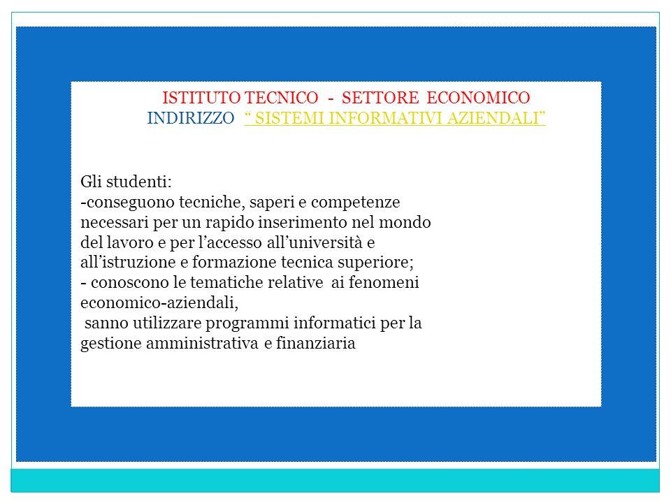 ISTITUTO TECNICO - SETTORE ECONOMICO