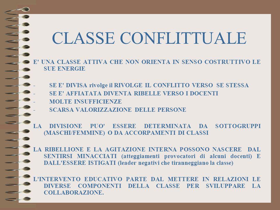 CLASSE CONFLITTUALE E UNA CLASSE ATTIVA CHE NON ORIENTA IN SENSO COSTRUTTIVO LE SUE ENERGIE.