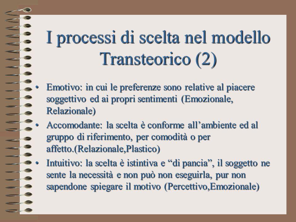 I processi di scelta nel modello Transteorico (2)
