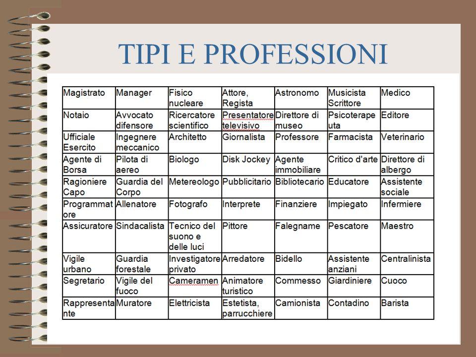TIPI E PROFESSIONI