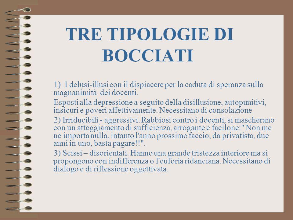 TRE TIPOLOGIE DI BOCCIATI