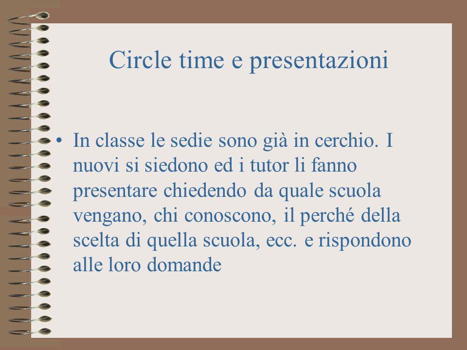 Circle time e presentazioni