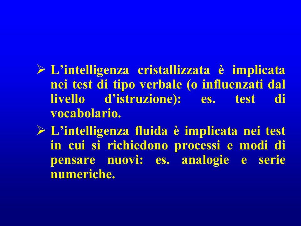 L'intelligenza cristallizzata è implicata nei test di tipo verbale (o influenzati dal livello d'istruzione): es. test di vocabolario.