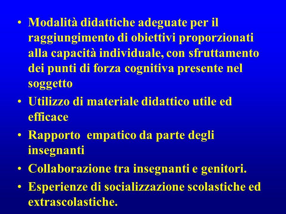 Modalità didattiche adeguate per il raggiungimento di obiettivi proporzionati alla capacità individuale, con sfruttamento dei punti di forza cognitiva presente nel soggetto