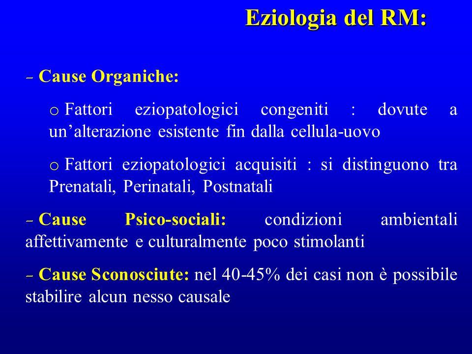 Eziologia del RM: Cause Organiche: