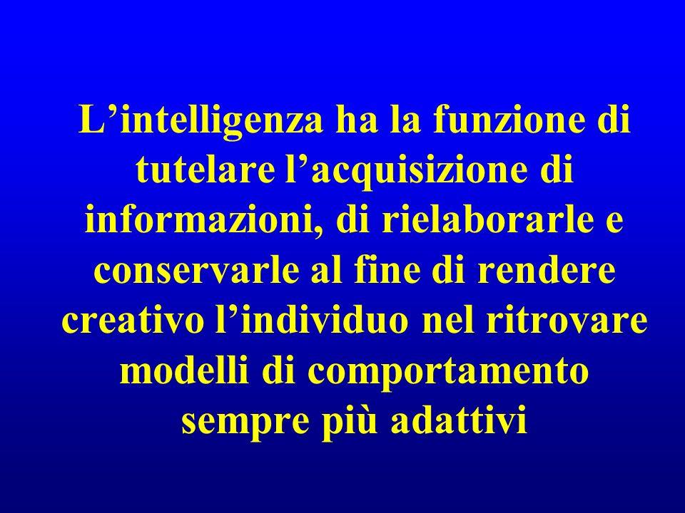 L'intelligenza ha la funzione di tutelare l'acquisizione di informazioni, di rielaborarle e conservarle al fine di rendere creativo l'individuo nel ritrovare modelli di comportamento sempre più adattivi