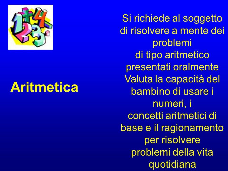 Aritmetica Si richiede al soggetto di risolvere a mente dei problemi
