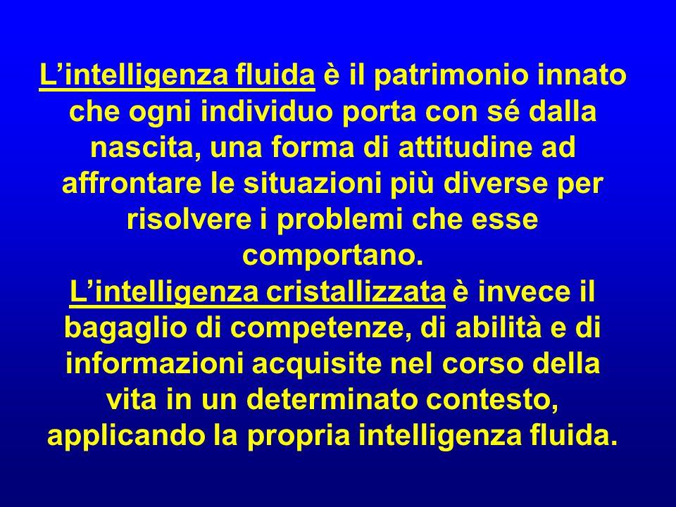 L'intelligenza fluida è il patrimonio innato che ogni individuo porta con sé dalla nascita, una forma di attitudine ad affrontare le situazioni più diverse per risolvere i problemi che esse comportano.