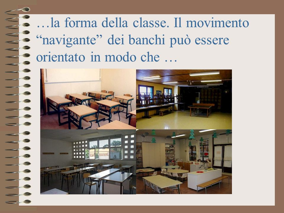 …la forma della classe. Il movimento navigante dei banchi può essere orientato in modo che …